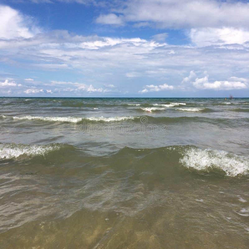 Summer. Wave Black Sea Sand sunset stock photo