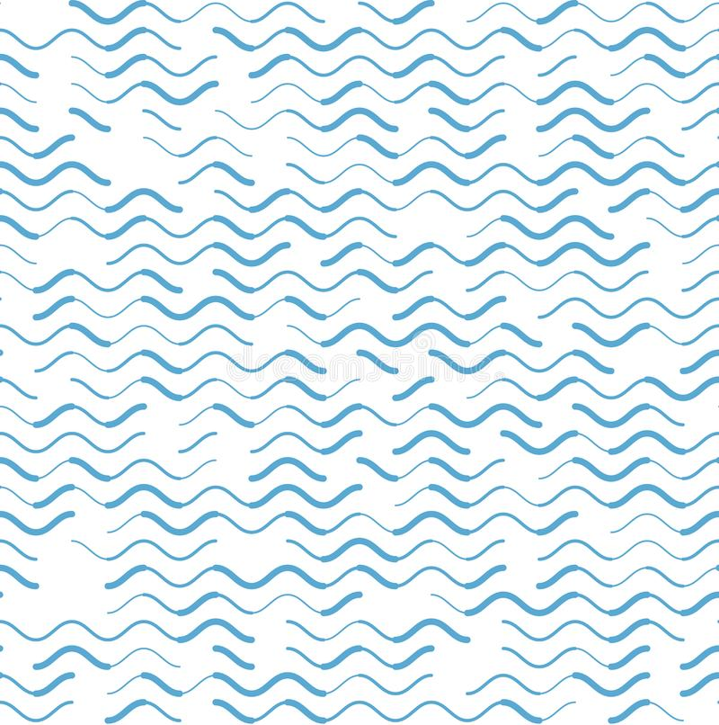 Wave blue lines various strokes seamless pattern. Wave blue lines with various stroke width seamless pattern abstract background. Sea theme pattern vector illustration