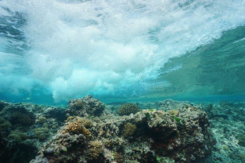 Wave che si rompe sull'oceano Pacifico subacqueo della scogliera fotografia stock libera da diritti