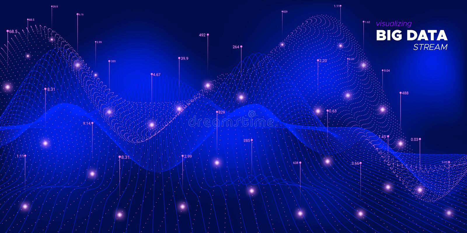 Wave Complex Big Data. Neon Particle Matrix. Background. Coding Technology Concept. Neon Future Bigdata Illustration. Statistic Abstract Background. Glow Big vector illustration