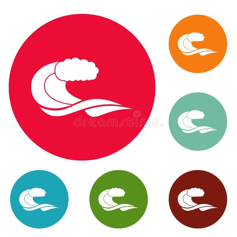 Wave composition icons circle set. Isolated on white background stock illustration