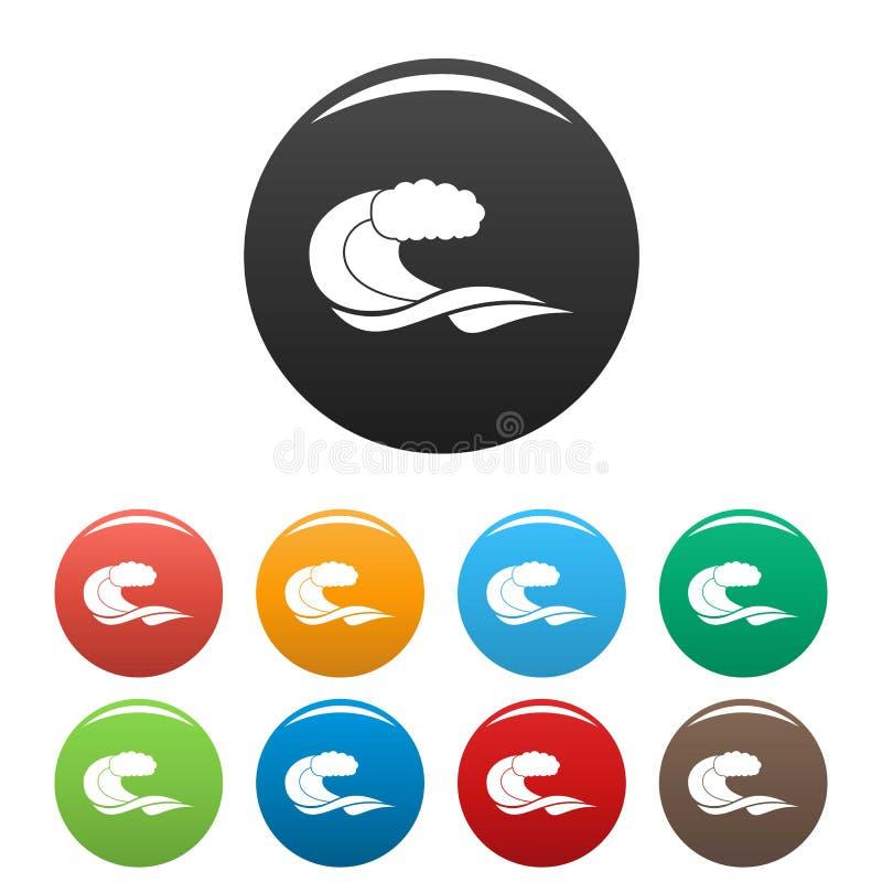 Wave composition icons set color vector. Wave composition icon. Simple illustration of wave composition vector icons set color isolated on white royalty free illustration