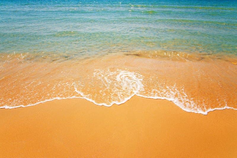 Wave con schiuma su una spiaggia tropicale fotografia stock