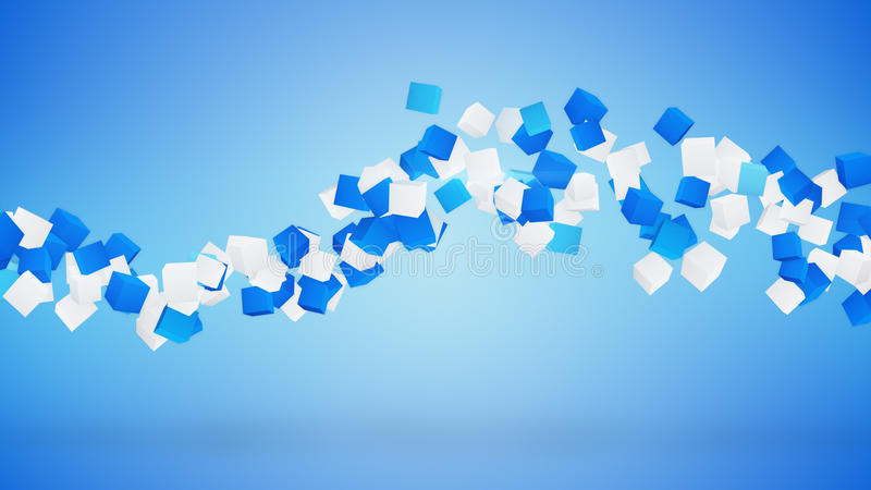 Wave of cubes abstract blue background vector illustration