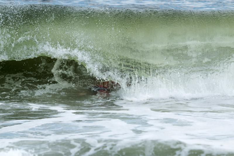 Wave curls over man swimming in the atlantic ocean off of Fire I stock photography