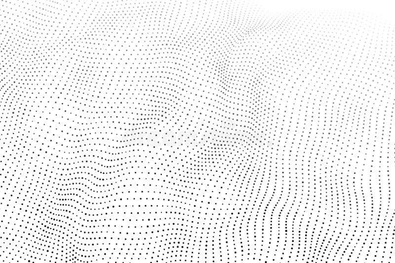 Wave 3d Wave delle particelle Onda futuristica del punto Progettazione per il manifesto Fondo di vettore di Technlogy Illustrazio illustrazione di stock