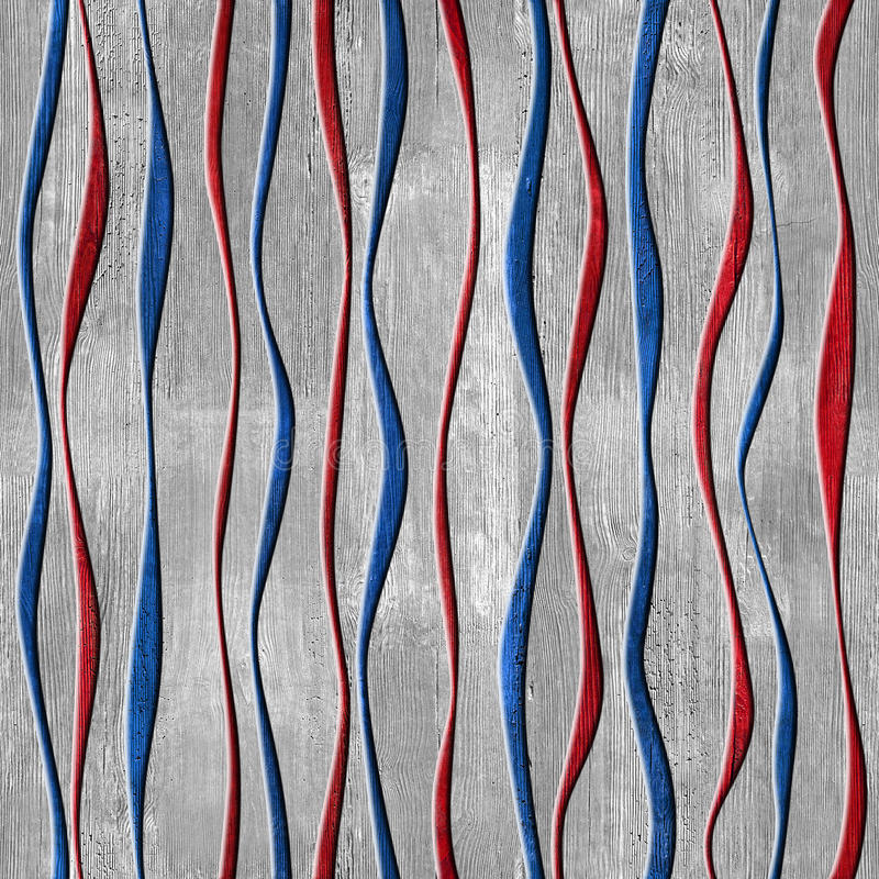 Free Wave Decorative Paneling - Seamless Pattern - Red-blue USA Colors Stock Image - 52387781