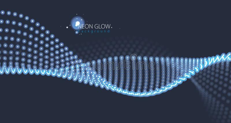 Wave delle particelle Fondo astratto vago delle luci Sia illustrazione di stock