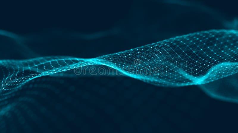 Wave delle particelle Fondo blu futuristico dei punti con un'onda dinamica Grandi dati rappresentazione 3d immagine stock libera da diritti