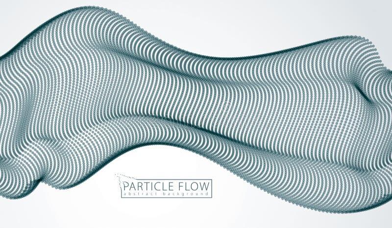 Wave delle particelle scorrenti sopra grey Fondo vago dell'estratto di vettore dei punti illustrazione vettoriale