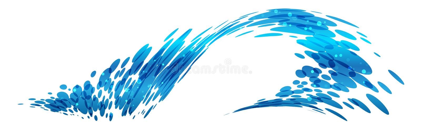 Wave design, stylized composition. Blue water royalty free illustration