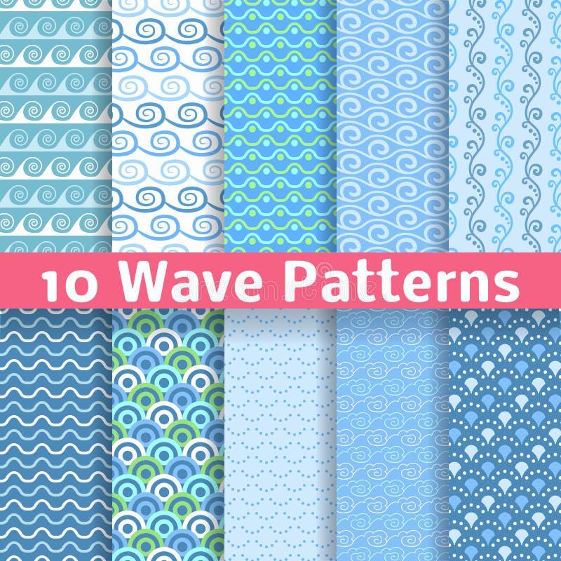 Wave different seamless patterns (tiling). Vector vector illustration