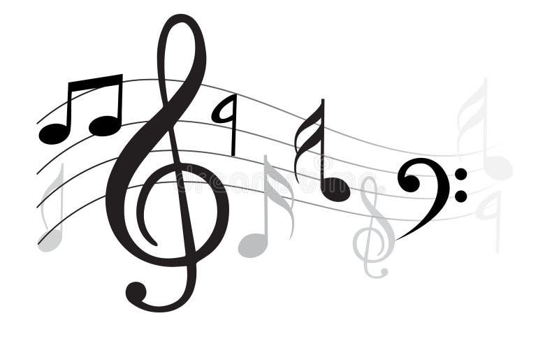 wave för klassisk musikanmärkningsvektor royaltyfri illustrationer