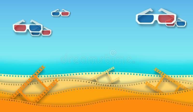 Wave film strip and 3D movie glasses isolated on colorful background. Closeup view for design layout cinema poster, banner, flyer stock illustration