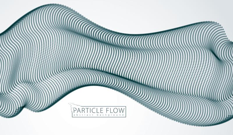 Wave of flowing particles over grey. Blurred dots vector abstract background. Beautiful wave shaped array of defocused circles vector illustration