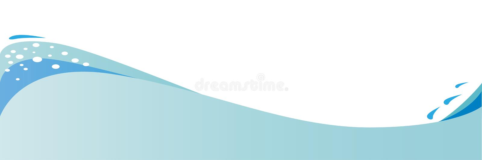 Wave Form Page. An abstract wave with foam and water droplets stock illustration