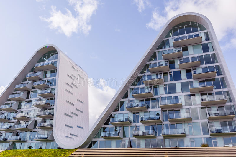 The wave, futuristic homes in Vejle, Denmark royalty free stock image
