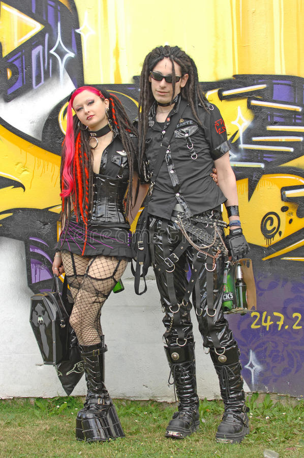 Download Wave Gothic Boy And Girl At Goth-event 2009 Editorial Image - Image: 9619155