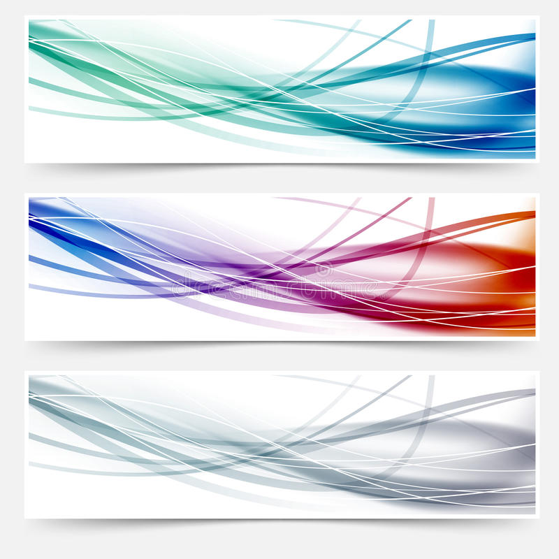 Wave headers set - swoosh hi-tech lines. Clip-art vector illustration