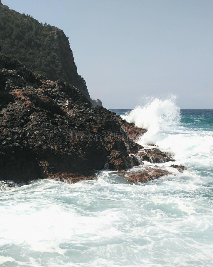 Island Beach People: Rock Beach With Big Wave Stock Photo. Image Of Corfu