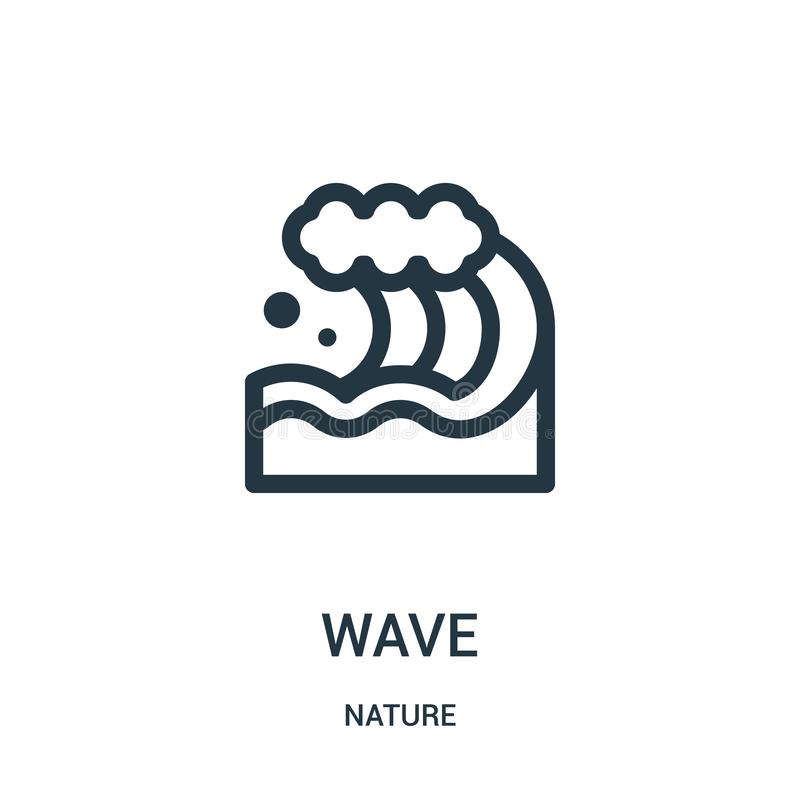 Wave icon vector from nature collection. Thin line wave outline icon vector illustration. Linear symbol for use on web and mobile. Apps, logo, print media royalty free illustration