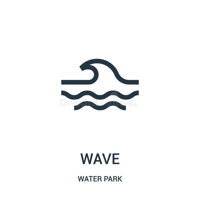 Wave icon vector from water park collection. Thin line wave outline icon vector illustration. Linear symbol for use on web and. Mobile apps, logo, print media stock illustration