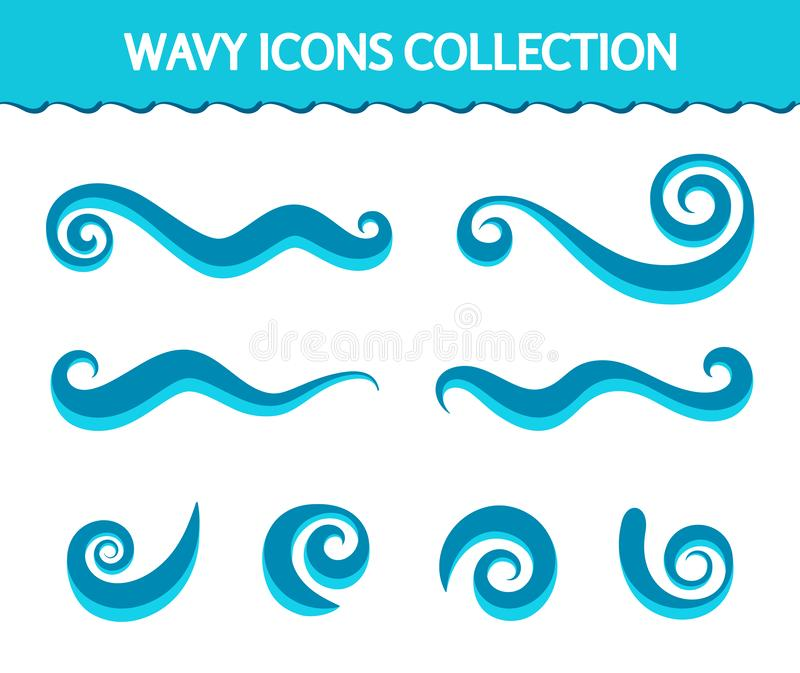 Wave icons and simple swirls vector illustration