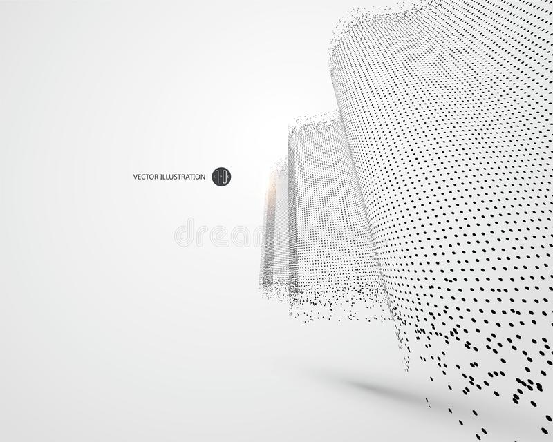 Wave-like patroon uit deeltjes, wetenschap en technologieillustratie wordt samengesteld die royalty-vrije illustratie