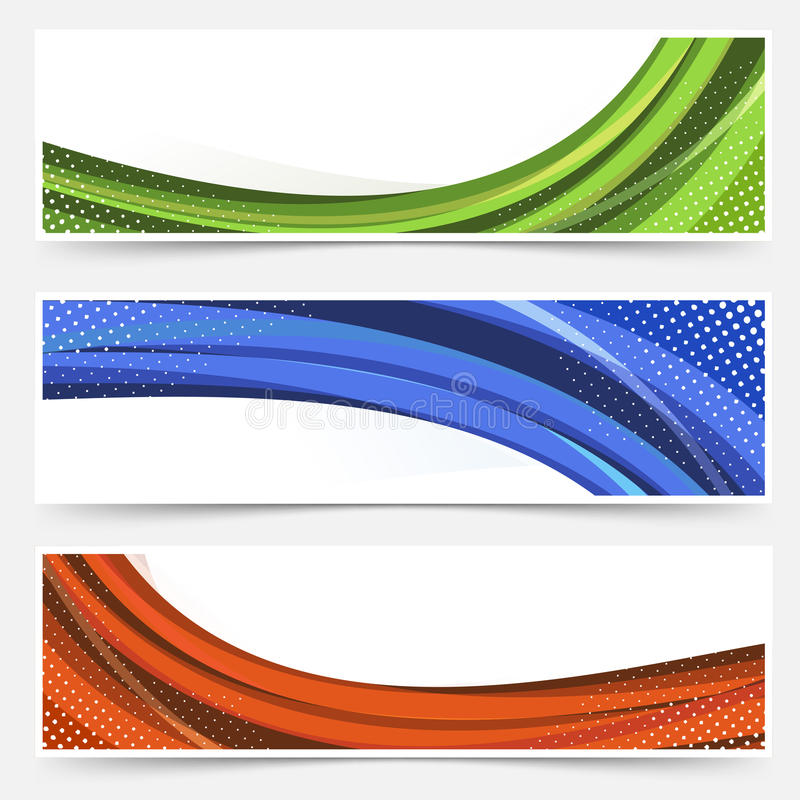 Wave line dotted web banners set stock illustration