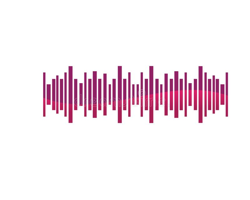 Wave line music and sound vector equalizer logo. Laser, network, modern, electronic, audio, media, disco, pattern, blur, digital, innovation, pulse, glowing royalty free illustration