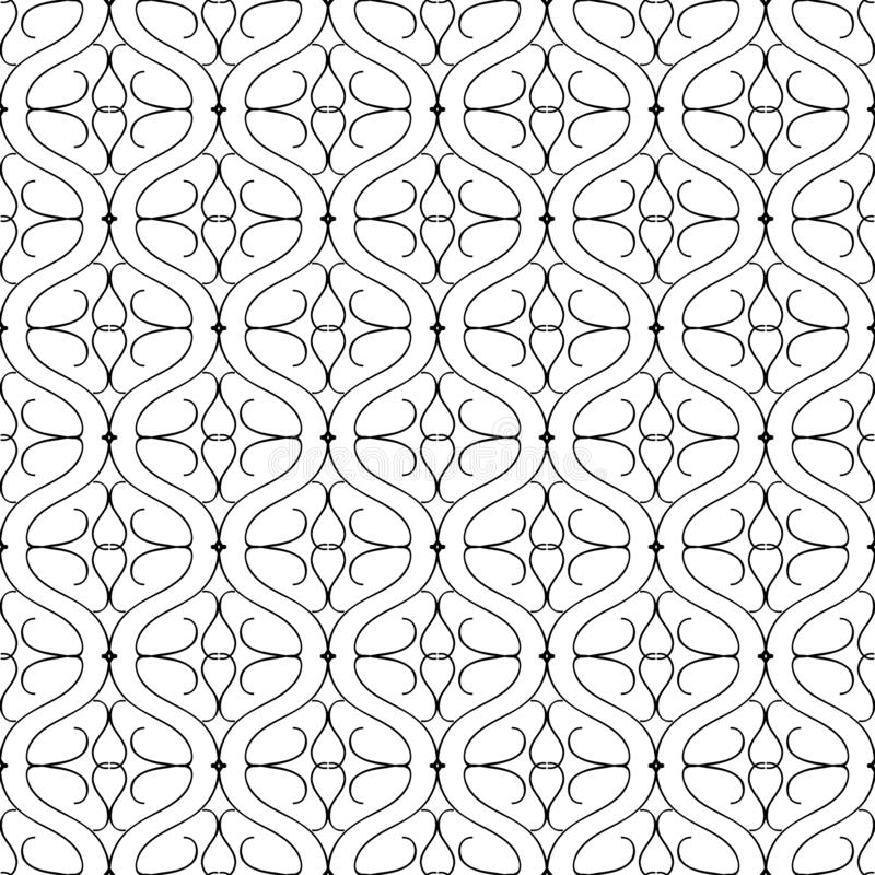 Wave lines arabesque black white vector seamless pattern. Ornamental arabic style background. Repeat monochrome vintage. Wave lines arabesque black and white stock illustration