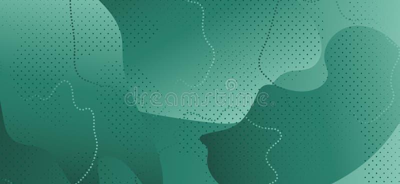 Wave Liquid Shapes. Dark Abstract Ornament. Green stock illustration