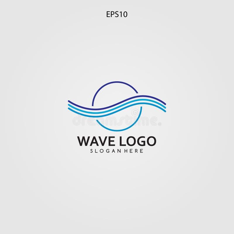 Wave logo design minimalist and elegant concept stock illustration
