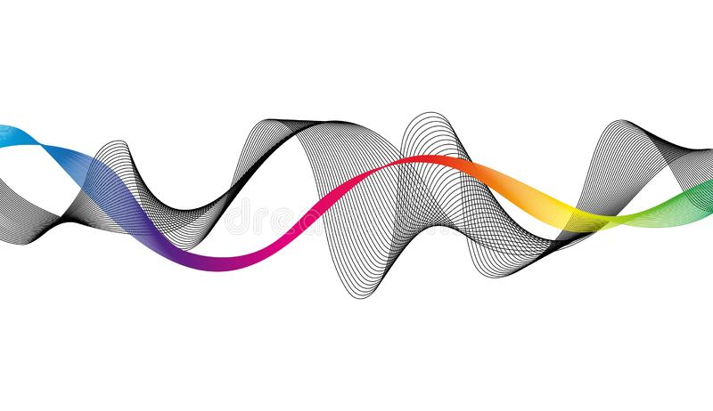 Wave of the many colored and black lines. Abstract wavy stripes on a white background isolated. royalty free illustration