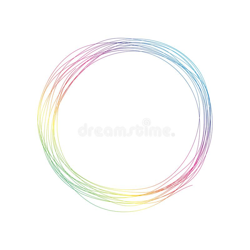 Wave of many colored lines circle frame. stock illustration