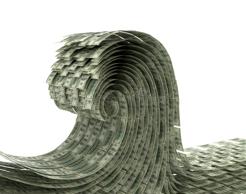 The wave of money on a white background. stock illustration