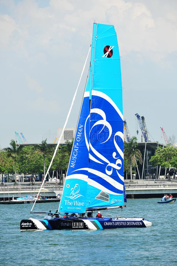 Download The Wave, Muscat, Practising At Extreme Sailing Series Singapore 2013 Editorial Photo - Image: 30410651