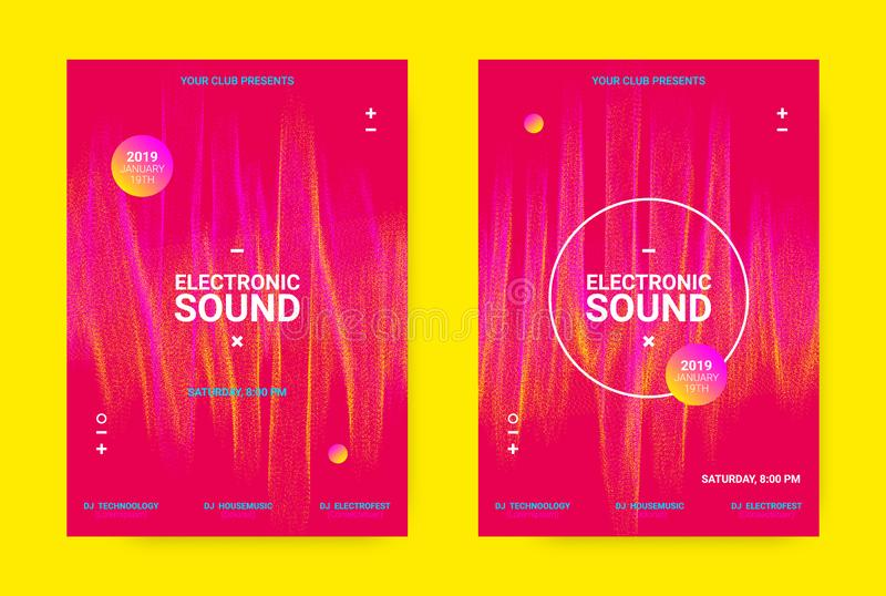 Wave Music Poster Concept. Electronic Sound Flyer. Flyer for Dance Event. Techno Sound Performance Wave Poster. Vector Music Equalizer Concept. Amplitude of stock illustration