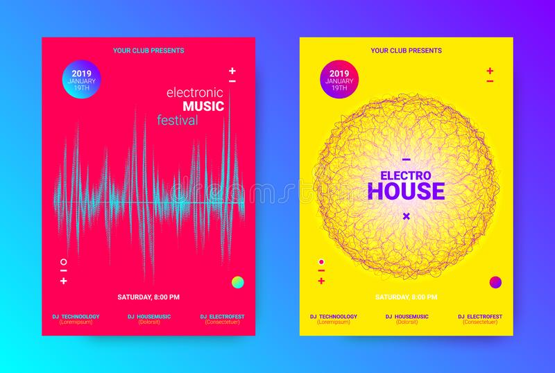 Wave Music Poster Concept. Electronic Sound Flyer. Dj Party Banner. Wave Electronic Music Poster. Vector Equalizer Concept with Amplitude of Lines. Promotion of vector illustration