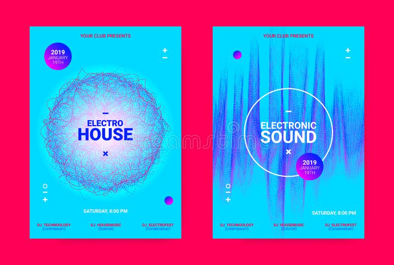 Wave Music Poster Concept. Electronic Sound Flyer. Music Event Banner. Techno Sound Wave Poster. Vector Amplitude of Dotted Lines. Wave Music Equalizer Concept royalty free illustration