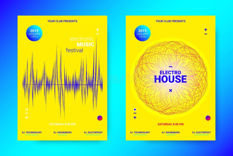 Wave Music Poster Concept. Electronic Sound Flyer. Electronic Night Party Promotion. Music Poster Concept. Wave Banner for Techno Sound Party. Dance Flyer with vector illustration