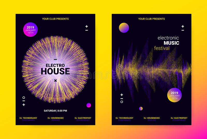 Wave Music Poster Concept. Electronic Sound Flyer. Techno Music Poster. Wave Flyer for Dance Event Promotion. Banner for Techno Sound Performance. Electronic stock illustration