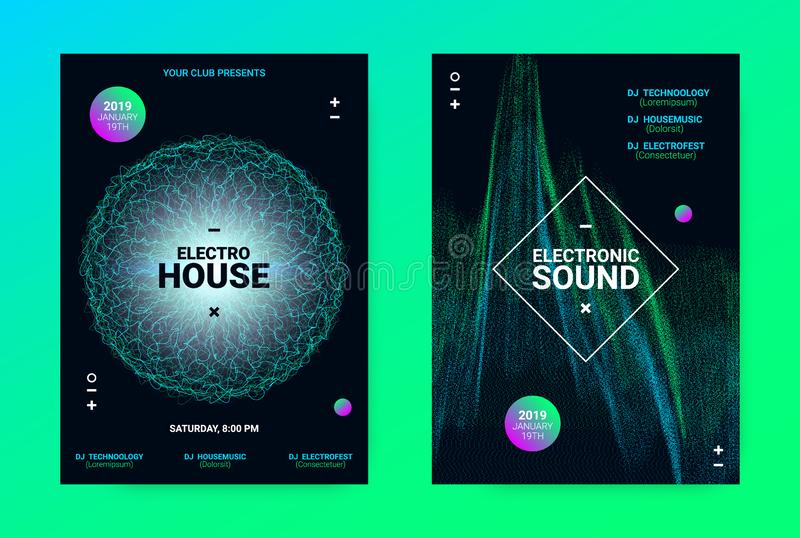 Wave Music Poster Concept. Electronic Sound Flyer. Techno Music Poster. Wave Flyer for Dance Event Promotion. Banner for Techno Sound Performance. Electronic vector illustration
