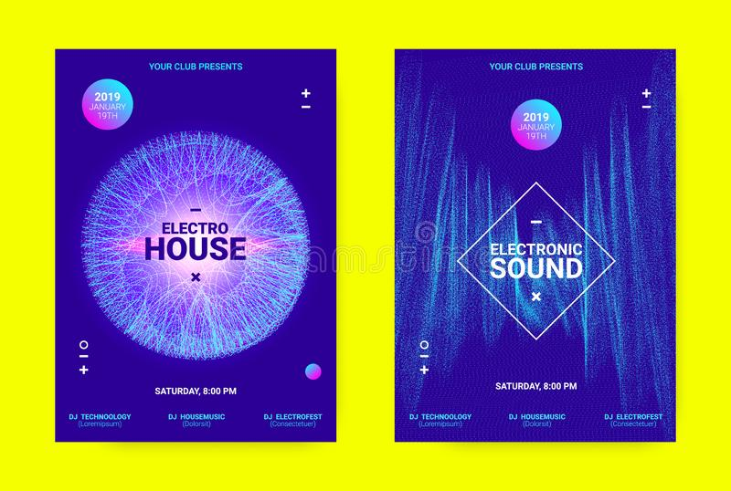 Wave Music Poster Concept. Electronic Sound Flyer. Techno Music Banner. Sound Flyer Concept. Equalizer Vector Design with Amplitude of Distorted Lines. Wave stock illustration