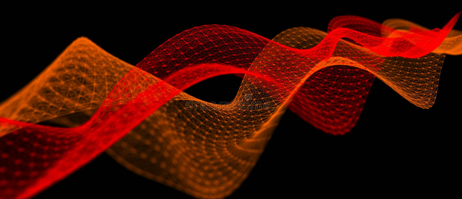Wave of musical sounds. Abstract background with interweaving of dots and lines. 3D rendering. Wave of musical sounds. Abstract background with interweaving of vector illustration