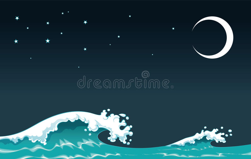 Wave in the night. Cartoon and vector illustration