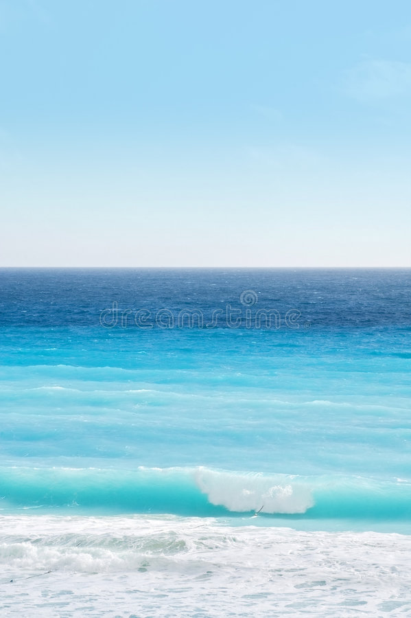Wave, Ocean and Sky of Caribbean Beach stock photography