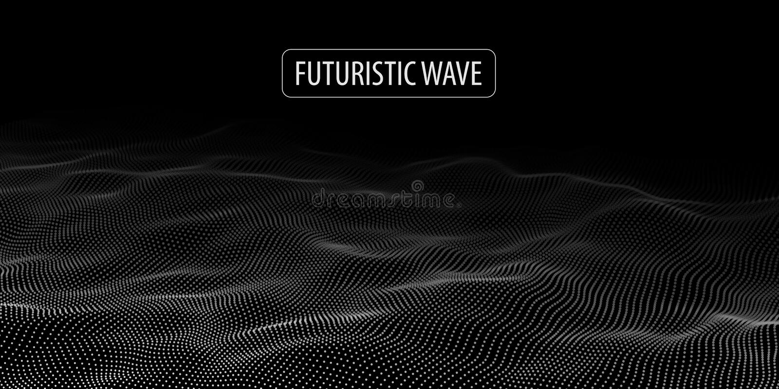 Wave of particles. Abstract background with a dynamic wave. Big data. Vector illustration royalty free illustration