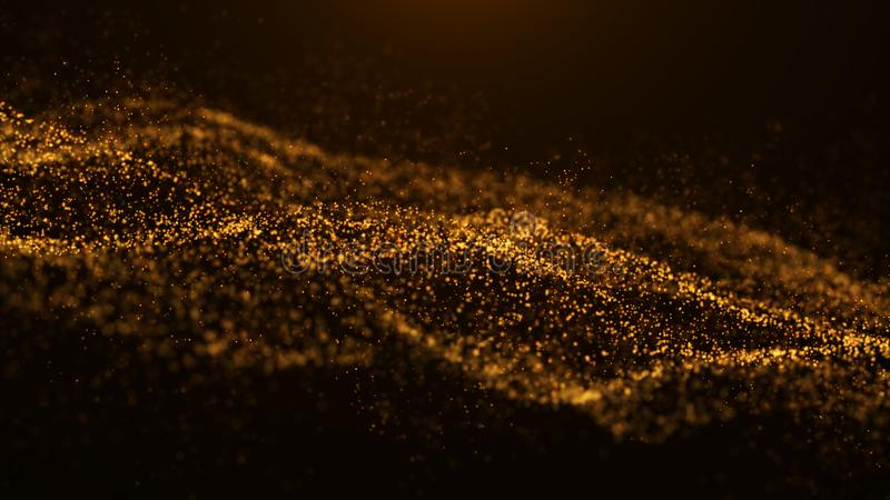 Wave of particles. Abstract particle. Data visualization. Abstract digital background. 4k rendering stock photography