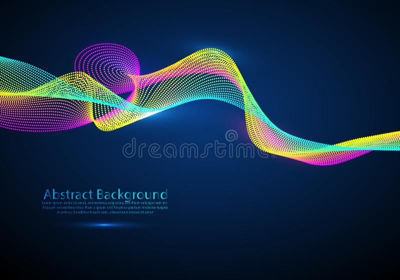 Wave particles background - 3D illuminated digital wave of glowing particles. Futuristic and technology illustration, HUD modern stock illustration